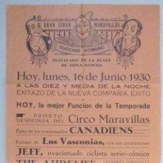 Carteles Espectáculos: CARTEL CIRCO - GRAN CIRCO MARAVILLAS - HUESCA - 1930 - CIRP22. Lote 53126347