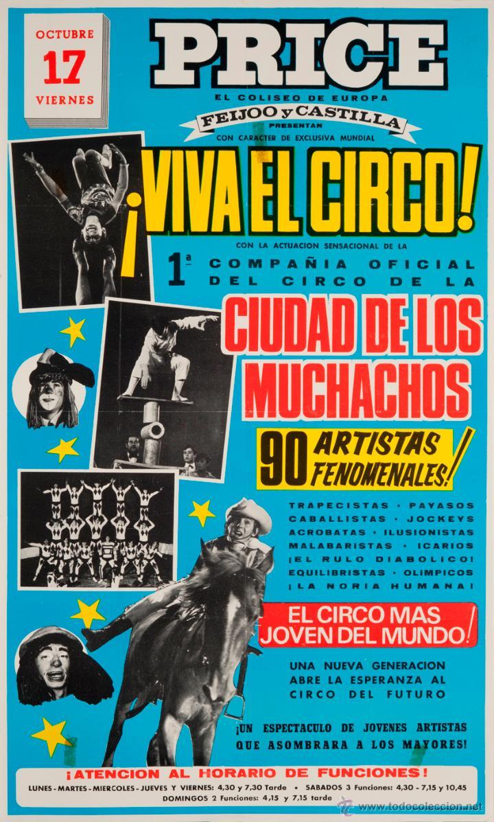 CARTEL PRICE. ¡VIVA EL CIRCO!. CIUDAD DE LOS MUCHACHOS. 1969. 65 X 39 CM. (Coleccionismo - Carteles Gran Formato - Carteles Circo, Magia y Espectáculos)