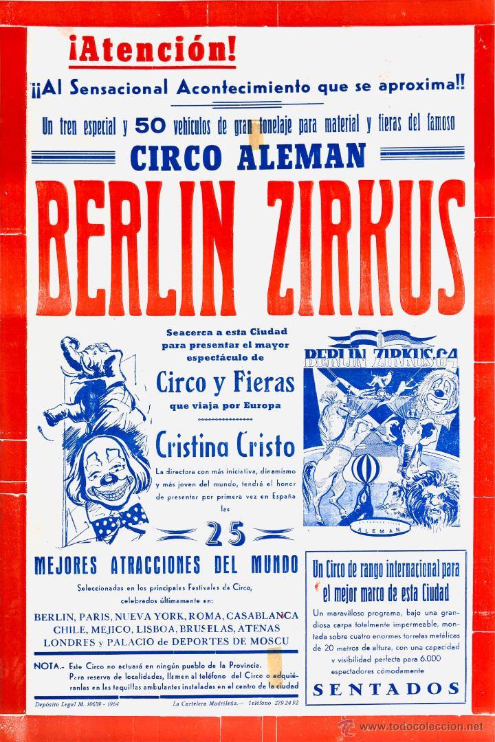 CARTEL BERLIN ZIRKUS. CIRCO ALEMAN. 1964. 49X32 (Coleccionismo - Carteles Gran Formato - Carteles Circo, Magia y Espectáculos)