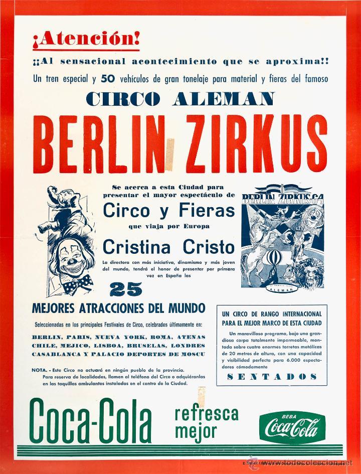 CARTEL BERLIN ZIRKUS. CIRCO ALEMAN. 1964. 59X44 (Coleccionismo - Carteles Gran Formato - Carteles Circo, Magia y Espectáculos)