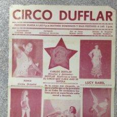 Carteles Espectáculos: CARTEL DE CIRCO DUFFLAR. AÑOS 50. 33X21,5 CM. Lote 52979343