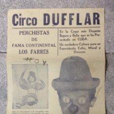 Carteles Espectáculos: CARTEL DE CIRCO DUFFLAR. AÑOS 50. 45 X 20,5 CM.. Lote 52979397