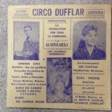 Carteles Espectáculos: CARTEL DE CIRCO DUFFLAR. AÑOS 50. 20 X 20 CM. Lote 52979442