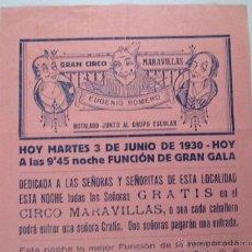 Carteles Espectáculos: CARTEL CIRCO Y ESPECTÁCULOS - GRAN CIRCO MARAVILLAS - MANRESA - 1930 - CIRP69. Lote 52995921