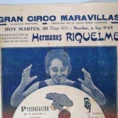 Carteles Espectáculos: CARTEL CIRCO , GRAN CIRCO MARAVILLAS , 1930 , CIRP74. Lote 53194430