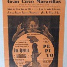 Carteles Espectáculos: CARTEL CIRCO , GRAN CIRCO MARAVILLAS , 1930 , CIRP108. Lote 53197307