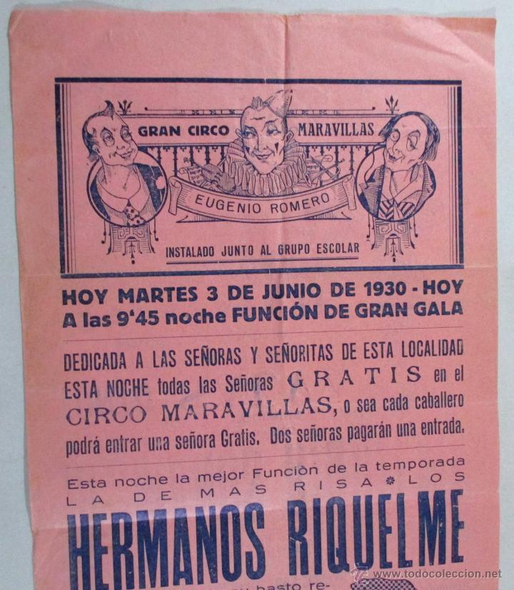 CARTEL CIRCO , GRAN CIRCO MARAVILLAS , MANRESA , BARCELONA , 1930 , CIRP119 (Coleccionismo - Carteles Gran Formato - Carteles Circo, Magia y Espectáculos)