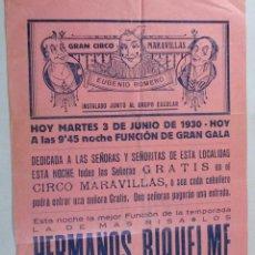 Carteles Espectáculos: CARTEL CIRCO , GRAN CIRCO MARAVILLAS , MANRESA , BARCELONA , 1930 , CIRP119. Lote 53199150