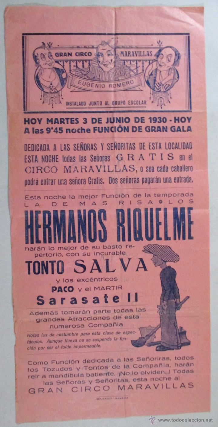 Carteles Espectáculos: CARTEL CIRCO , GRAN CIRCO MARAVILLAS , MANRESA , BARCELONA , 1930 , CIRP119 - Foto 2 - 53199150