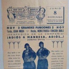 Carteles Espectáculos: CARTEL CIRCO , GRAN CIRCO MARAVILLAS , MANRESA , BARCELONA , 1930 , CIRP120. Lote 53199168