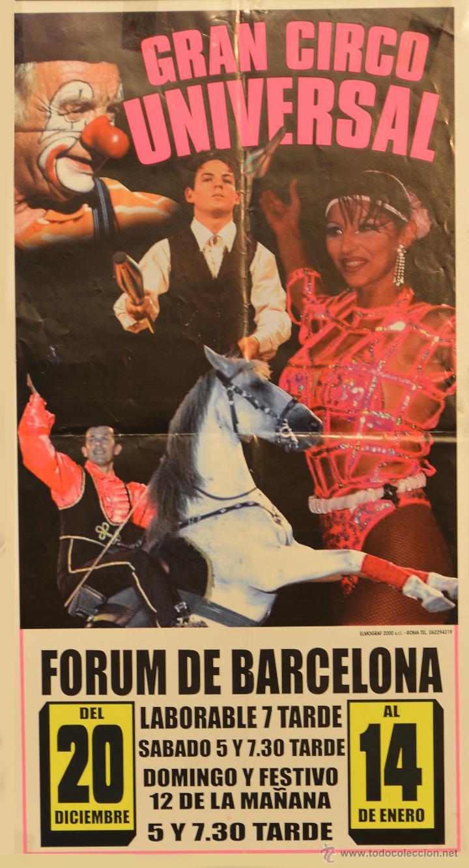 CARTEL GRAN CIRCO UNIVERSAL. 50X27 CM. BARCELONA (Coleccionismo - Carteles Gran Formato - Carteles Circo, Magia y Espectáculos)