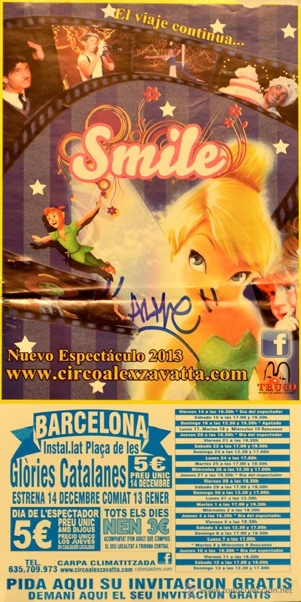 CARTEL CIRCO ALEX ZAVATTA. SMILE. TRUCO. 41X20 CM. BARCELONA (Coleccionismo - Carteles Gran Formato - Carteles Circo, Magia y Espectáculos)