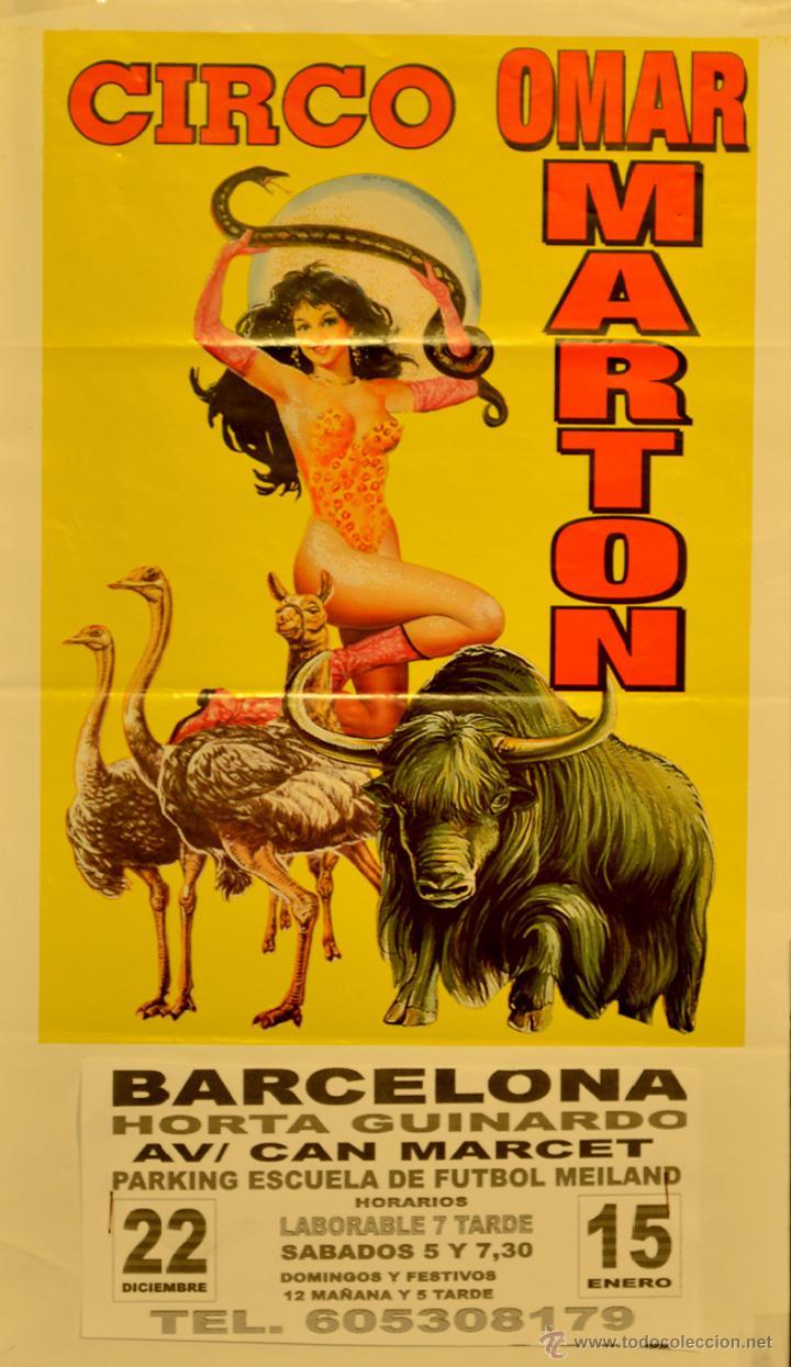 CARTEL CIRCO OMAR MARTON. 2005. 48X28 CM. BARCELONA (Coleccionismo - Carteles Gran Formato - Carteles Circo, Magia y Espectáculos)