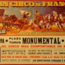 Carteles Espectáculos: CARTEL GRAN CIRCO DE FRANCIA. BEN-HUR. ESTUDIO ARLIT. 39X57 CM. 1966. BARCELONA. Lote 53318944
