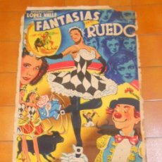 Carteles Espectáculos: CARTEL FANTASIAS EN EL RUEDO. ALMADEN .40 ARTISTAS NACIONALES Y EXTRANJEROS . AÑO 1953.FIRMADO LUCHI. Lote 53543797