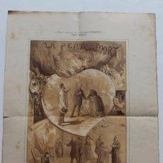 Carteles Espectáculos: CARTEL LITOGRÁFICO TEATRO ROMEA LA PENA DE MORT. FOLGUERA Y SOLER, CIRCA 1900. Lote 54051157