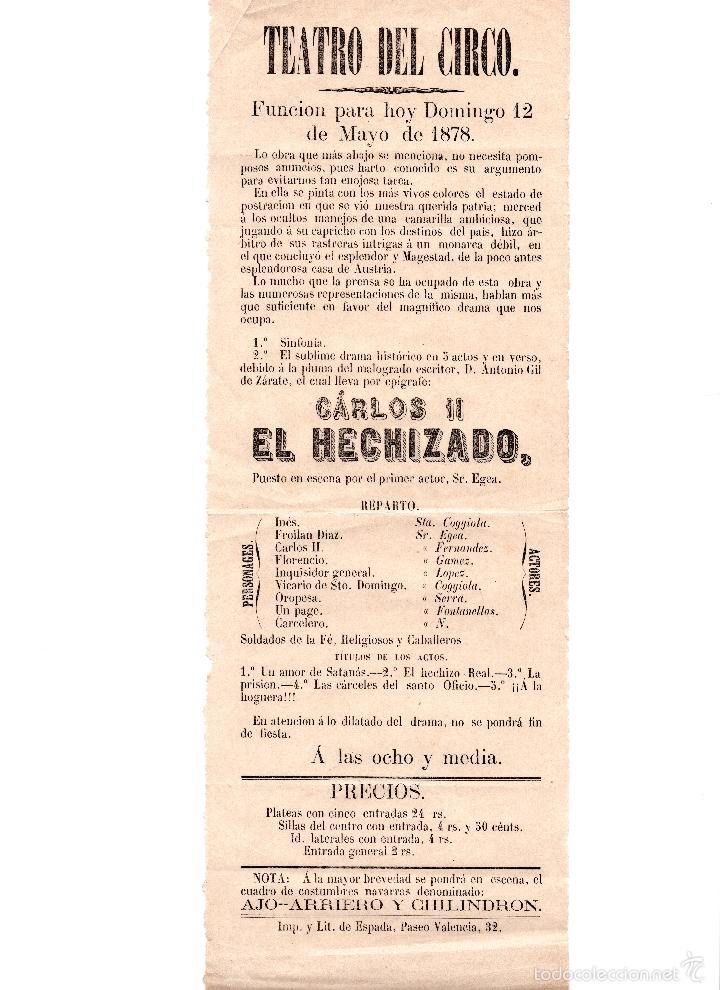 PROGRAMA DEL TEATRO DEL CIRCO 1878, CARLOS II EL HECHICERO (Coleccionismo - Carteles Gran Formato - Carteles Circo, Magia y Espectáculos)