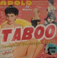 Carteles Espectáculos: APOLO. TABOO BARCELONA BURLESQUE NIGHTS. Lote 57158912