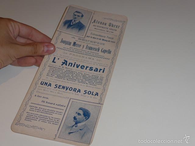 ANTIGUO CARTEL DE ATENEU OBRER DE BARCELONA DE 1905, TEATRO. (Coleccionismo - Carteles Gran Formato - Carteles Circo, Magia y Espectáculos)