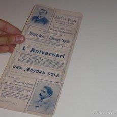 Carteles Espectáculos: ANTIGUO CARTEL DE ATENEU OBRER DE BARCELONA DE 1905, TEATRO.. Lote 58013648