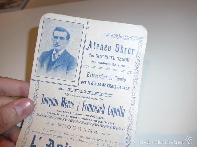 Carteles Espectáculos: Antiguo cartel de ateneu obrer de Barcelona de 1905, teatro. - Foto 2 - 58013648