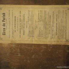 Affiches Spectacles: CIRCO DE PARISH. PLAZA DEL REY. (CIRCO PRICE). 1899 DEBUT DE LA COMPAÑIA. BOB WALTER, TROUPE ETC. Lote 58145341