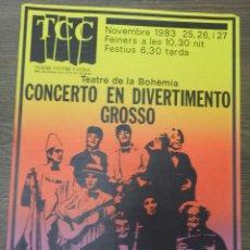Carteles Espectáculos: COMPAÑIA GRUP DE TEATRE GAT HOSPITALET AÑO 1983 CARTEL TEATRE DE LA BOHEMIA. Lote 62254132