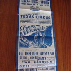 Carteles Espectáculos: PLAZA TOROS VITORIA. ESPECTÁCULO CIRCENSE. 1947.. Lote 62277728