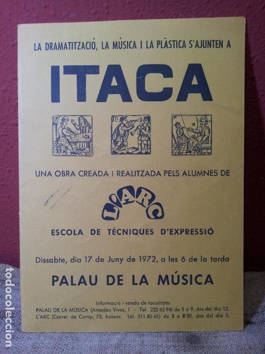 DÍPTICO INVITACION PROGRAMA ITACA L'ARC PALAU DE LA MUSICA 1972---TEATRO AMATER..MERCE ARANEGA (Coleccionismo - Carteles Gran Formato - Carteles Circo, Magia y Espectáculos)