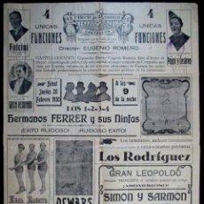 Carteles Espectáculos: CARTEL CIRCO , GRAN CIRCO MARAVILLAS , CASTELLÓN , 20 FEBRERO 1930 , CIRP177. Lote 66589226