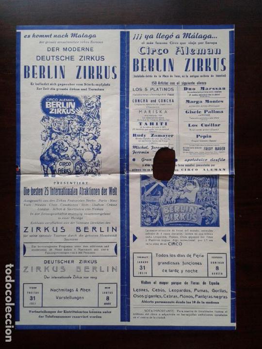 CARTEL DEL CIRCO ALEMAN BERLIN ZIRKUS EN MALAGA 1965 LOS 5 PLATINOS MARISKA TAHITI PEPIN LOS CUELLAR (Coleccionismo - Carteles Gran Formato - Carteles Circo, Magia y Espectáculos)