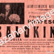 Carteles Espectáculos: CARTEL DE MAGIA E ILUSIONISMO, 1959, PROFESOR SALOKIN, RARO, 320X215MM. Lote 76009787