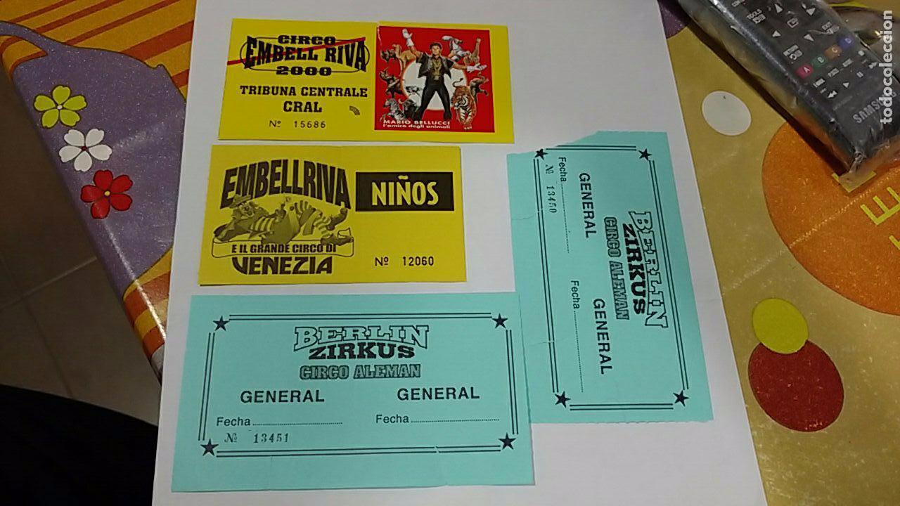 4 ENTRADA ENTRADAS CIRCO EMBELL RIVA EMBELLRIVA BERLIN ZIRKUS CIRCUS (Coleccionismo - Carteles Gran Formato - Carteles Circo, Magia y Espectáculos)