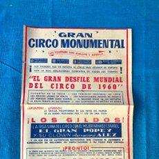 Carteles Espectáculos: CARTEL DEL GRAN CIRCO MONUMENTAL -1960 EN TOUR POR EUROPA Y AFRICA. Lote 79822373