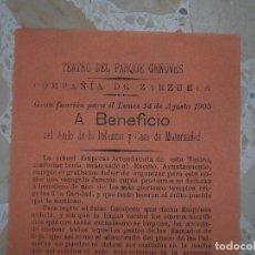 Carteles Espectáculos: CÁDIZ.TEATRO DEL PARQUE GENOVÉS.COMPAÑIA DE ZARZUELA.AÑO DE 1905.. Lote 80144237