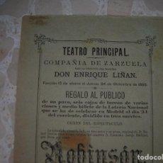 Carteles Espectáculos: CÁDIZ.TEATRO PRINCIPAL.COMPAÑIA DE ZARZUELA.AÑO DE 1885.. Lote 80144773