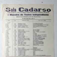 Carteles Espectáculos: CARTEL ORIGINAL / / 1976 / SALA CADARSO / Iª MUESTRA TEATRO INDEPENDIENTE. Lote 80444709