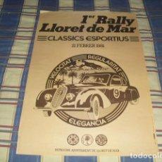 Carteles Espectáculos: CARTEL 1ER. RALLY LLORET DE MAR . CLASSICS SPORTIUS - 1981 -. Lote 80554862