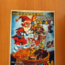 Carteles Espectáculos: LA REVOLTOSA - MANZANERA, ESPECTÁCULO CÓMICO, TAURINO, MUSICAL ZARAGATA - CARTEL TAMAÑO 42X74. Lote 82427360
