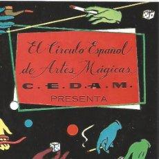 Carteles Espectáculos: FOLLETO DIPTICO ORIGINAL 1959 EL CIRCULO ESPAÑOL DE ARTES MAGICAS C. E. D. A. M. FESTIVAL MAGIA. Lote 90806190