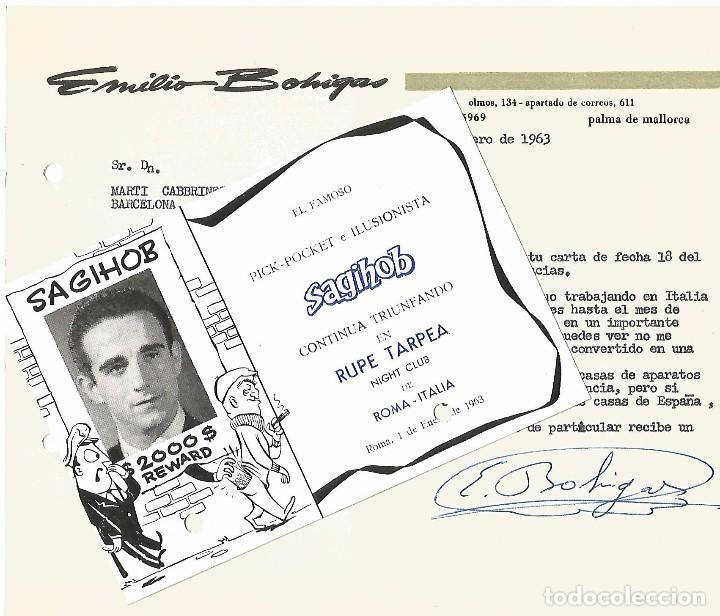 MAGIA CARTA Y POSTAL 1963 POCKET ILUSIONISTA SAGIHOB EMILIO BOHIGAS PALMA MALLORCA RUPE TARPEA ROMA (Coleccionismo - Carteles Gran Formato - Carteles Circo, Magia y Espectáculos)
