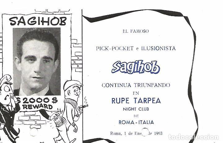 Carteles Espectáculos: MAGIA CARTA Y POSTAL 1963 POCKET ILUSIONISTA SAGIHOB EMILIO BOHIGAS PALMA MALLORCA RUPE TARPEA ROMA - Foto 2 - 91859140