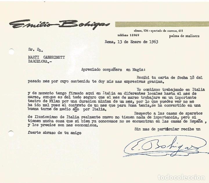 Carteles Espectáculos: MAGIA CARTA Y POSTAL 1963 POCKET ILUSIONISTA SAGIHOB EMILIO BOHIGAS PALMA MALLORCA RUPE TARPEA ROMA - Foto 4 - 91859140