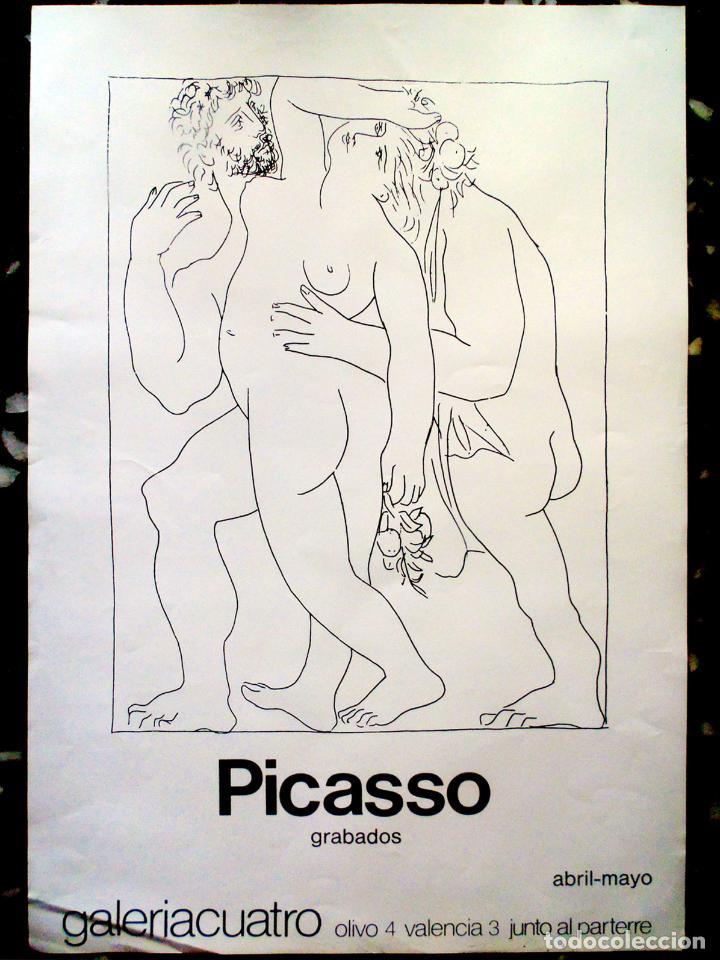 CARTEL DE EXPOSICION DE - PICASSO - GRABADOS - GALERIACUATRO DE VALENCIA 1991 65X43 CM (Coleccionismo - Carteles Gran Formato - Carteles Circo, Magia y Espectáculos)