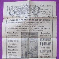 Carteles Espectáculos: CARTEL CIRCO, GRAN CIRCO MARAVILLAS, EUGENIO ROMERO, HERMANOS RIQUELME, MIDE APROX. 27,5 X 40 CM, C2. Lote 94149695