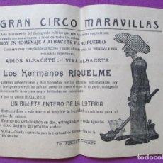Carteles Espectáculos: CARTEL CIRCO, GRAN CIRCO MARAVILLAS, EUGENIO ROMERO, HERMANOS RIQUELME, MIDE APROX. 16 X 21 CM, C3. Lote 94149890