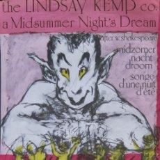 Carteles Espectáculos: LINDSAY KEMP. CARTEL A MIDSUMMER NIGHT'S DREAM DE SHAKESPEARE. BÉLGICA AÑOS 80. Lote 97100111
