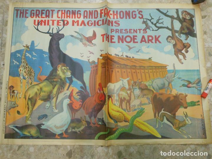 GRAN CARTEL DE MAGIA THE GREAT CHANG AND FAK-HONG'S UNITED MAGICIANS - THE NOE ARK EL ARCA DE NOE (Coleccionismo - Carteles Gran Formato - Carteles Circo, Magia y Espectáculos)
