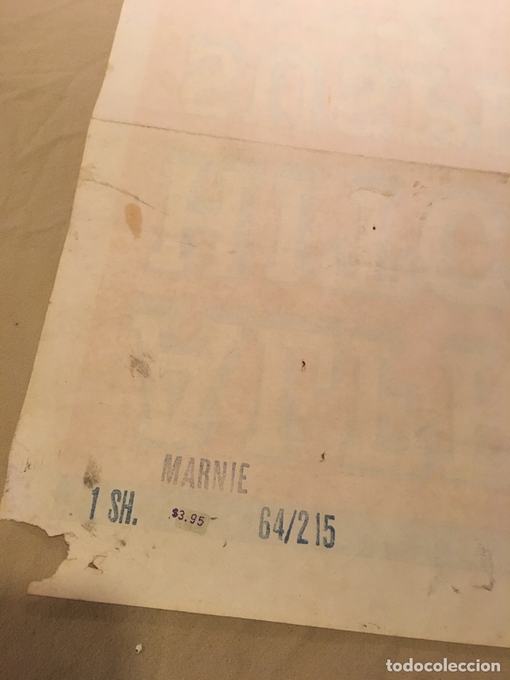 Carteles Espectáculos: Cartel original de cine. Marnie La ladrona. Alfred Hitchcock. 1964. Grandes dimensiones. Cine. Sean - Foto 4 - 99745302