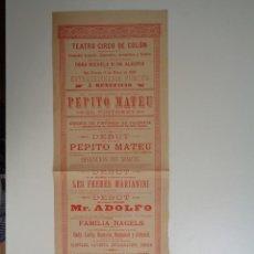 Affiches Spectacles: 1890.TEATRO CIRCO DE COLON.Dª MICAELA R. DE ALEGRIA.C-233. Lote 100162159